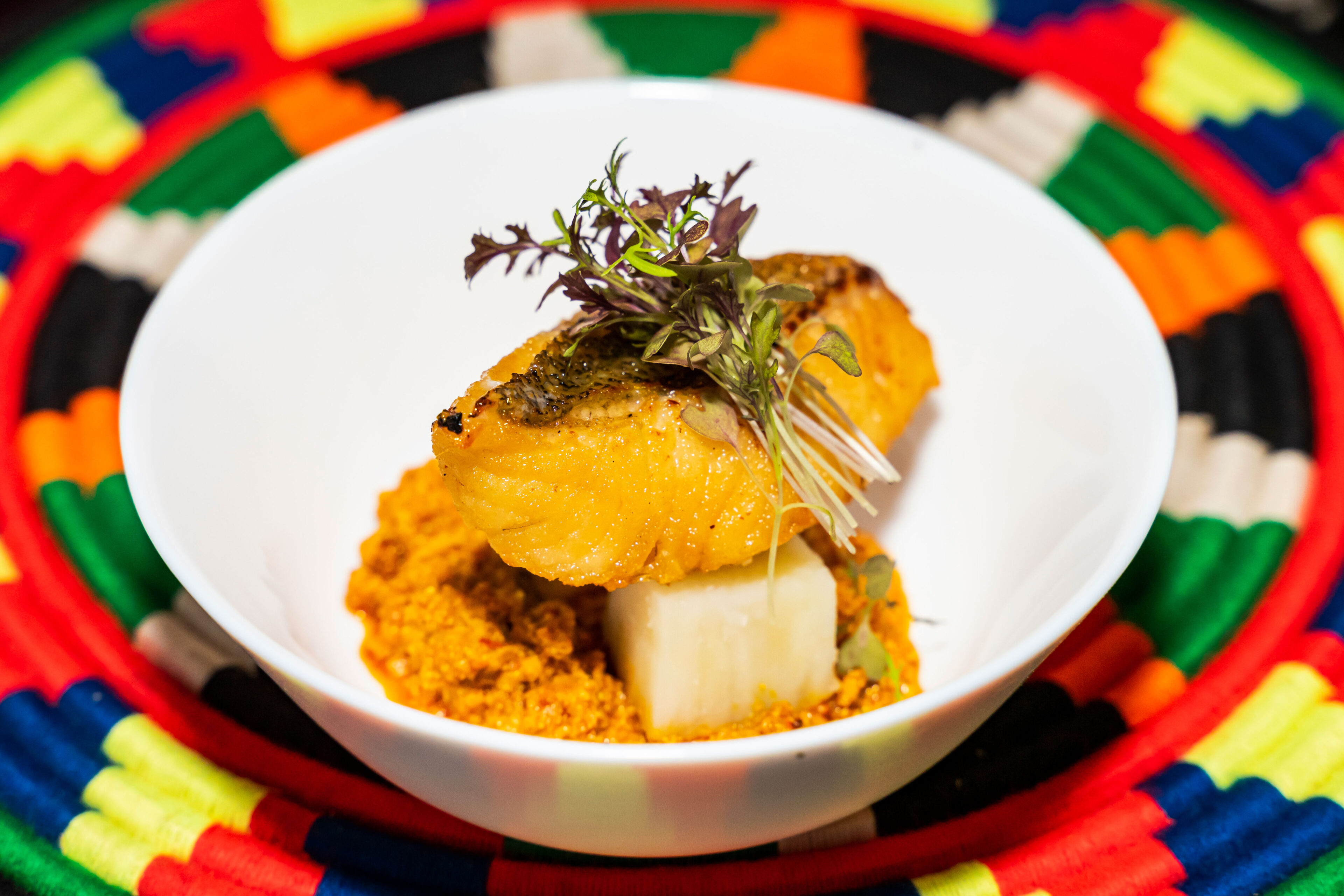 tasty african cuisine in a white bowl on a colourful placemat